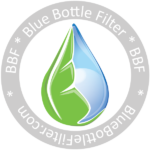 logo for blue bottle filter, a filter for water dispensers
